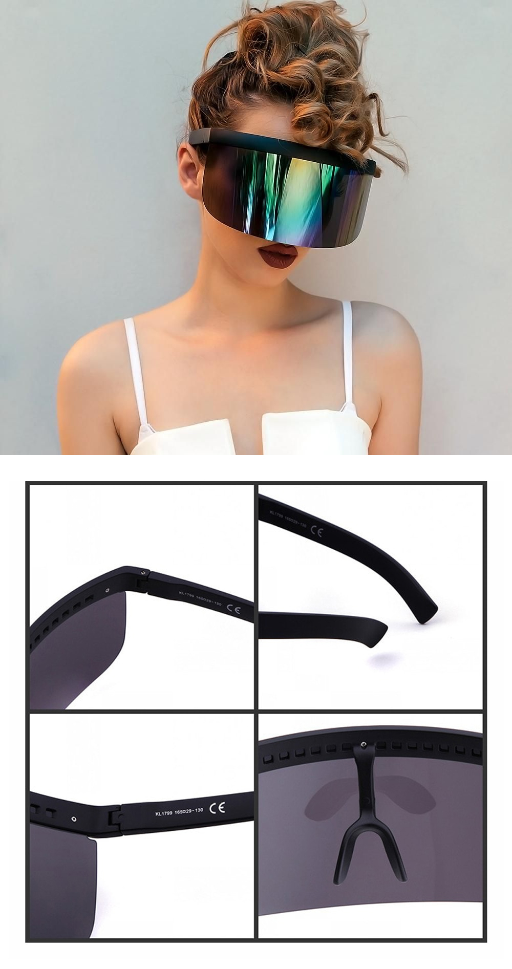 oversized sunglasses shield visor